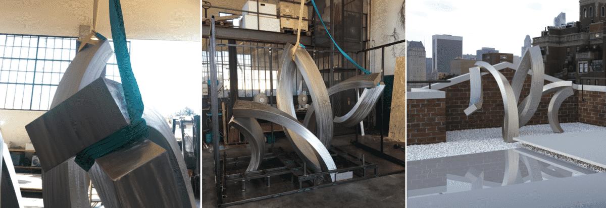 Photos d'une sculpture pendant un transport