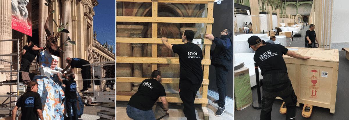 Trois images avec les employés de ges préparant la livraison d'oeuvres d'art